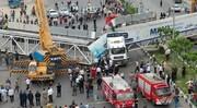 خسارت میلیاردی تریلی به پل هوایی شهر گلستان