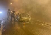 آتشسوزی خودروی پژو ۲۰۷ در تونل پردیس + چزئیات