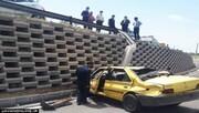 تصادف شدید تاکسی پژو با کامیون + جزئیات