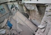 ریزش آوار در ساختمان در حال تخریب + تصاویر