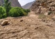 تخریب جاده فرعی روستای مشهد به حصاربن بر اثر سیل