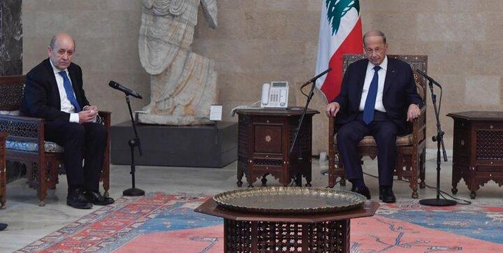 رایزنی وزیر خارجه فرانسه با میشل عون