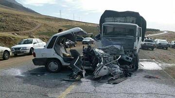 تصادف مرگبار پراید و کامیون + عکس