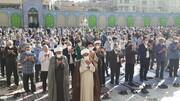 اقامه نماز عیدسعیدفطر در صحن امامزاده جعفر(ع) پیشوا