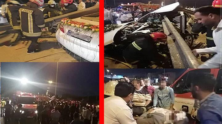 وضعیت عروس و داماد مصدوم از تصادف در روز عروسی ،در شیراز + عکس ها