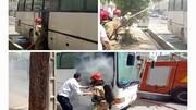 اتوبوس مسافربری در آتش سوخت  + عکس