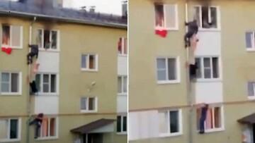 نجات دو کودک از مرگ حتمی در آتش سوزی / شهروندان فرشته نجات شدند + فیلم