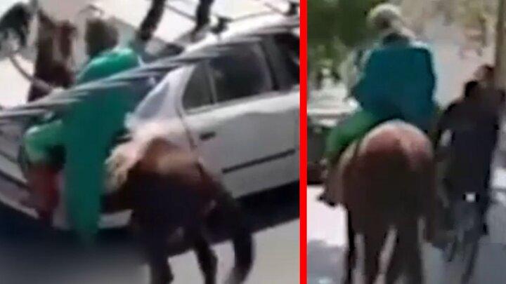 امام زمان قلابی در خیابان های اصفهان / فیلم اسب سواری و حمله به مردم