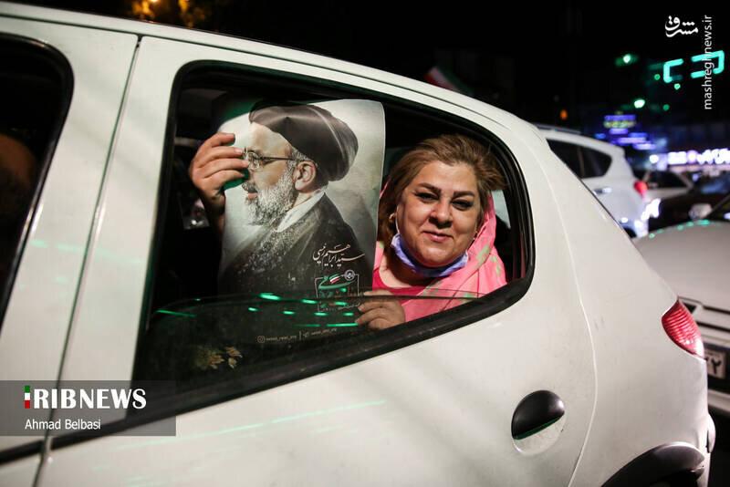 جشن پیروزی رئیسی در شمال تهران به روایت تصویر