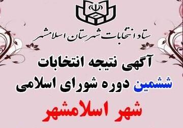 اعلام رسمی نتیجه انتخابات ششمین دوره شورای اسلامی شهر اسلامشهر