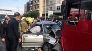 پراید در تصادف با اتوبوس بی آر تی پرس شد / در اتوبان امام علی رخ داد