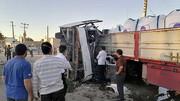 تصاویر مصدومان اتوبوس سربازان در تصادف با تریلی / در یزد رخ داد
