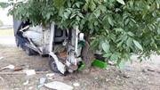 برخورد شدید کامیون با درخت / در قزوین رخ داد