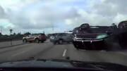 تصادف هولناک خودروی نوجوانان در تعقیب و گریز پلیسی +فیلم