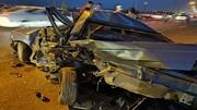 شبی وحشتناک در ورامین / تنها آهن پاره های پژو باقی ماند