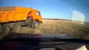 تعقیب و گریز پلیس برای متوقف کردن کامیون کمپرسی + فیلم