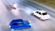 جان راکب موتورسیکلت در تصادفی شدید به خطر افتاد + فیلم