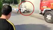 خودرو پراید در آتش جزغاله شد + فیلم