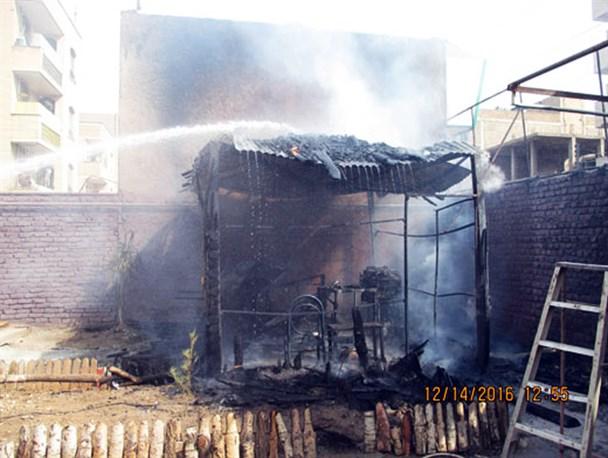 آتش سوزی در آلاچیق مدرسه دخترانه