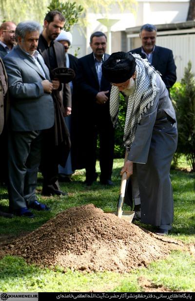 کاشت یک اصله نهال توسط مقام معظم رهبری + تصاویر