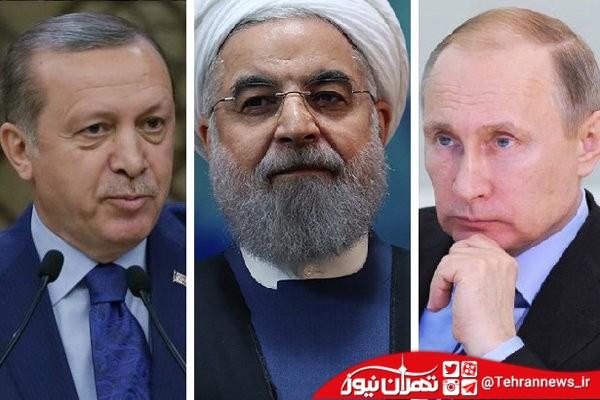 عکس یادگاری روحانی ، اردوغان و پوتین در تهران